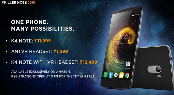 From 15th Feb Lenovo Vibe K4 Note Will Be Available Without Registrations